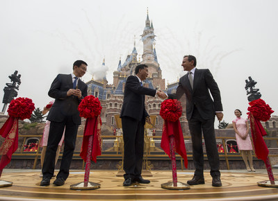 Thousands of invited guests celebrated the Grand Opening of Shanghai Disney Resort today with the help of a flood of Shanghai Disney cast members and Disney character friends at a dedication ceremony. Bob Iger, chairman and CEO of The Walt Disney Company (right) joined Chinese CPC Politburo members Wang Yang, State Council Vice Premier (middle), and Han Zheng, Party Secretary of Shanghai (left), to officially open the resort's new theme park, Shanghai Disneyland, at the iconic Enchanted Storybook Castle.