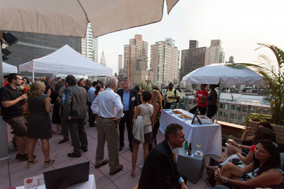 Guests enjoy city views at the grand opening of the Cambria hotel & suites New York-Chelsea