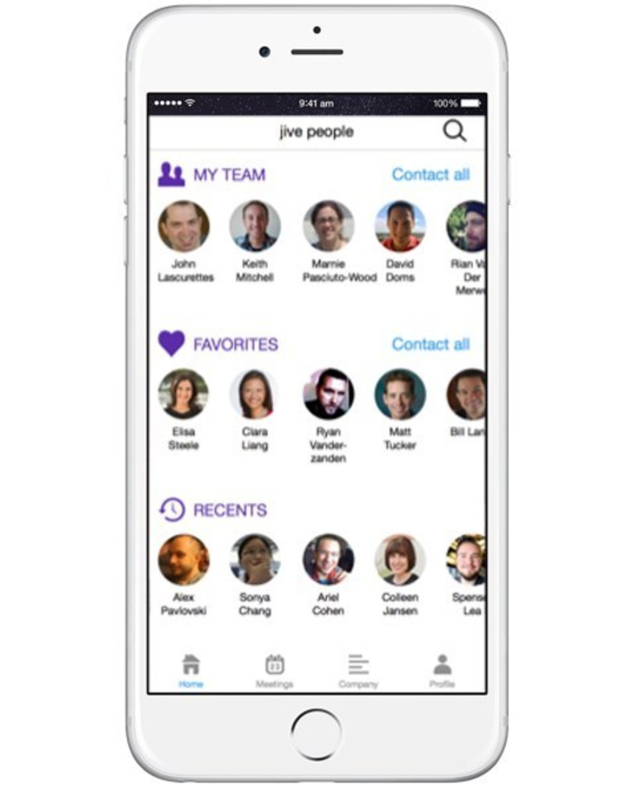 Jive People provides a modern corporate directory in employees' pockets.