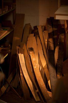 Bushmills barrel staves in the Lowden workshop