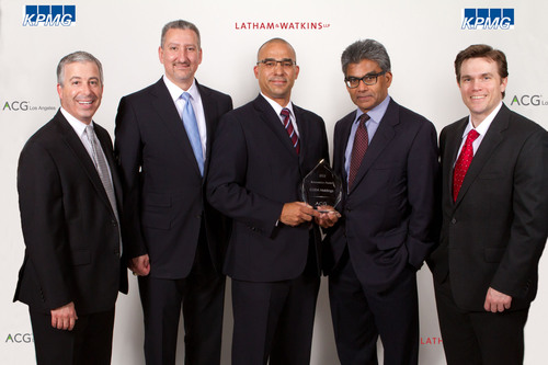 Members of the CODA executive management team accepted the Innovation Award at the ACG Los Angeles Annual Awards Ceremony, held May 1 at the Walt Disney Concert Hall. From left to right: Andrew Apfelberg, Greenberg Glusker; John Brumlik, KPMG; Forrest Beanum, CODA Holdings; Ashoka Achuthan, CODA Holdings; and Bradley Helms, Latham & Watkins.  (PRNewsFoto/CODA Automotive)