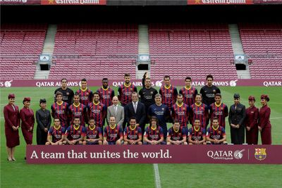 The CEO of Qatar Airways, the President of FC Barcelona and first team players at this evening's presentation