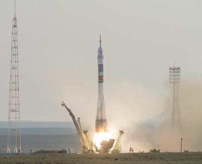 The Soyuz MS-01 spacecraft launches from the Baikonur Cosmodrome with Expedition 48-49 crewmembers Kate Rubins of NASA, Anatoly Ivanishin of Roscosmos and Takuya Onishi of the Japan Aerospace Exploration Agency (JAXA) onboard, Thursday, July 7, 2016 , Kazakh time (July 6 Eastern time), Baikonur, Kazakhstan. Rubins, Ivanishin, and Onishi will spend approximately four months on the orbital complex, returning to Earth in October. Photo Credit:
