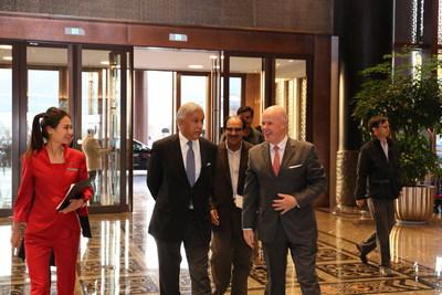 Former Prime Minister of Pakistan Shaukat Aziz welcomed by Brice Pean, GM of Sunrise Kempinski Hotel, Beijing & Yanqi Island