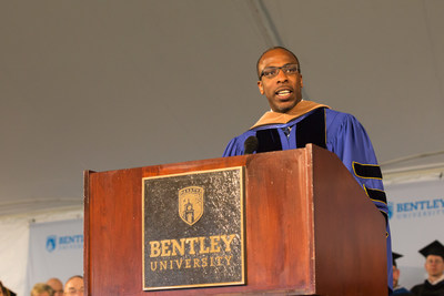Corey Thomas, president and CEO of Rapid7 security software firm, delivered the keynote address at the Bentley University Graduate School of Business 41st commencement ceremony.