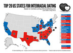 Top 20 US States For Interracial Dating.  (PRNewsFoto/www.InterracialDating.com)