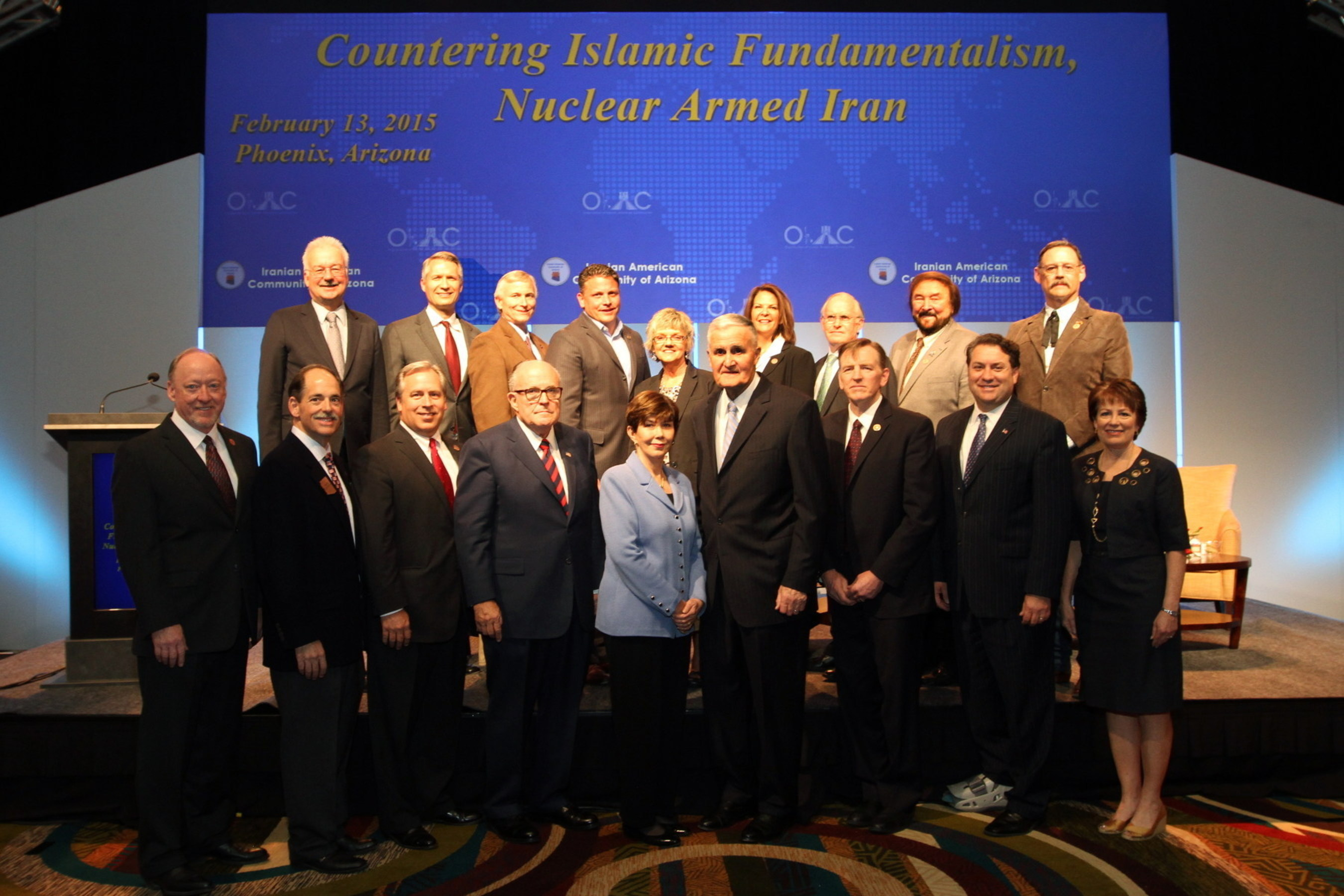 "Mayor Rudy Giuliani, General Hugh Shelton and Linda Chavez joined Prominent Arizona officials to discuss ""Countering Islamic Fundamentalism, a Nuclear-Armed Iran"" on Feb. 13, 2015 in Phoenix, AZ."