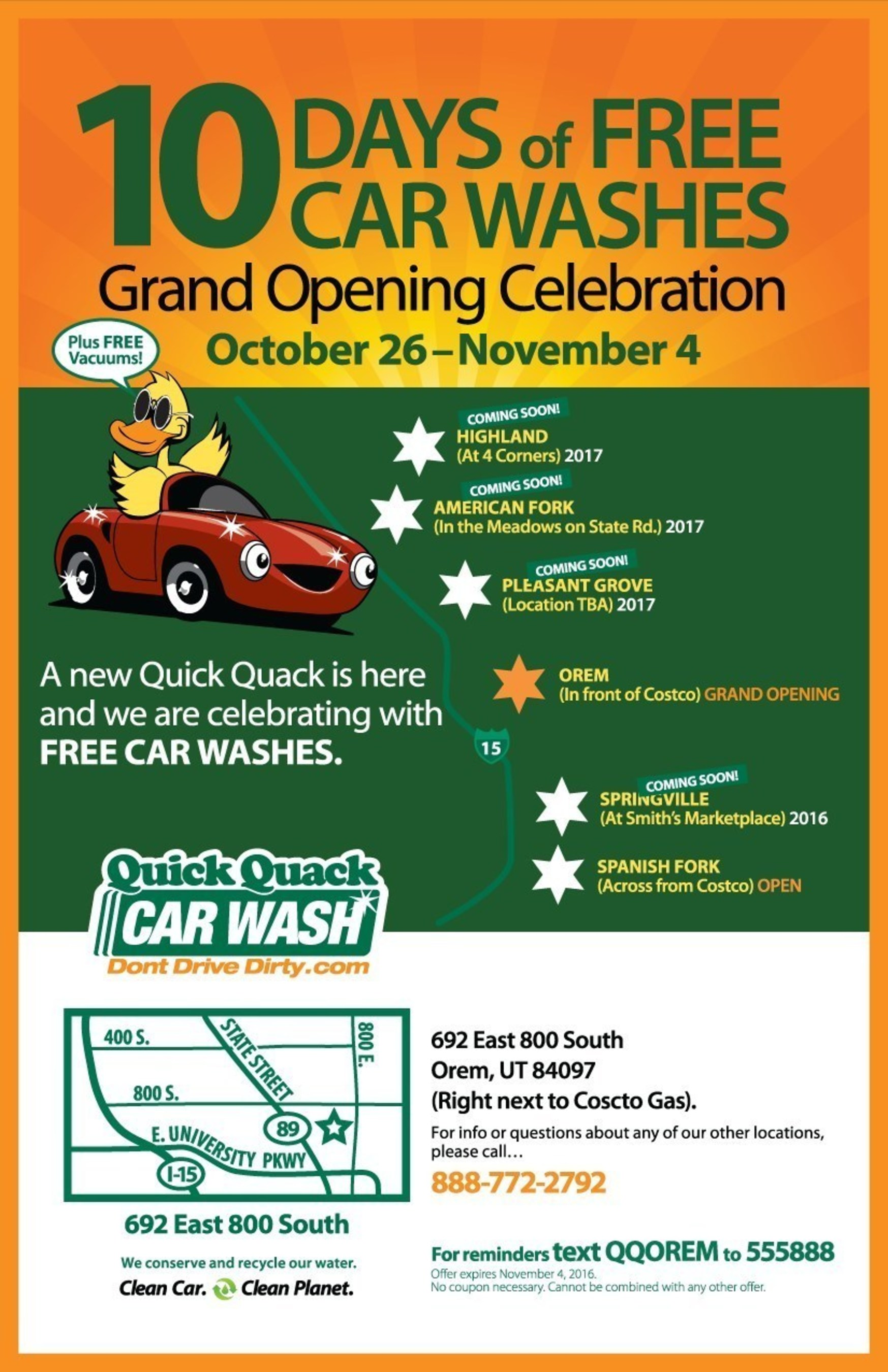 10 days of free car washes at Orem grand opening of Quick Quack Car Wash