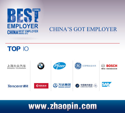 "Zhaopin.com Announced the Results of the ""Best Employers in China for 2012"" on Jan. 23.  (PRNewsFoto/Zhaopin.com)"