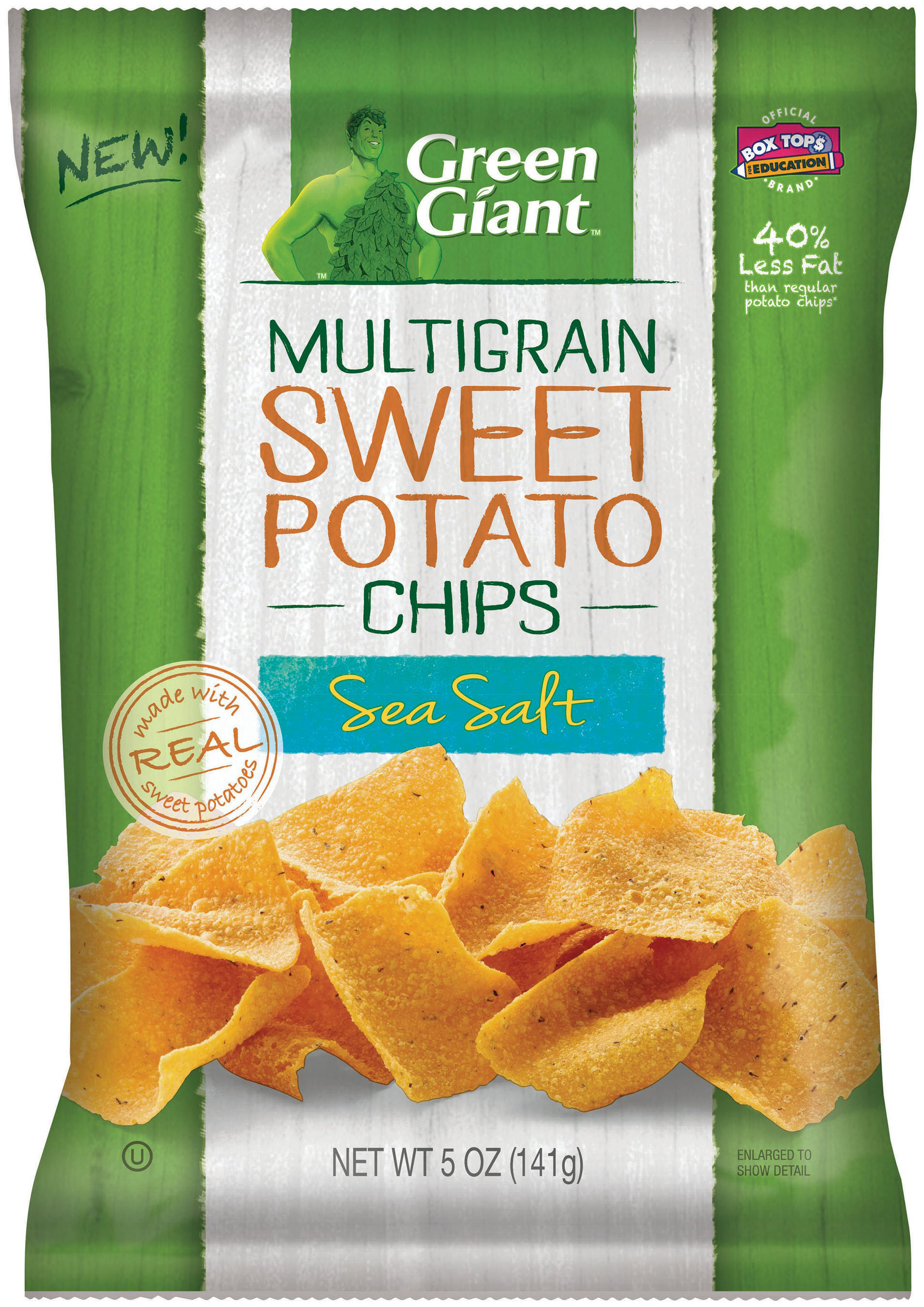 Green Giant Multigrain Sweet Potato Chip - Sea Salt Flavor contains 40 percent less fat than regular potato chips*, is made with 14 grams of whole grain per serving, and real sweet potatoes. *Green Giant Multigrain Sweet Potato Chips (6g per 28g serving) have 40 percent less fat than regular potato chips (10g per 28g serving).   (PRNewsFoto/General Mills)