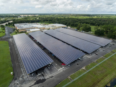 Lockheed Martin's parking solar array, completed in September 2015, will cut energy costs by up to 60 percent, greenhouse gas emissions by 35 percent and energy use by 25 percent by the year 2020.