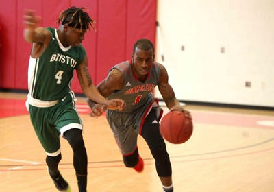 BHCC Men's Basketball point guard Elijah Rogers, right, battles down the court in the MCCAA statewide championship game last weekend.