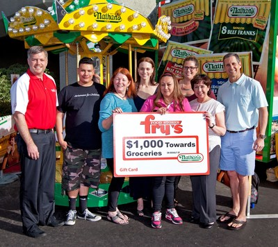 Nathan's Famous representatives presented Arizonans for Children with a Fry's Food Stores gift card worth $1,000 towards the purchase of groceries, courtesy of Nathan's Famous.