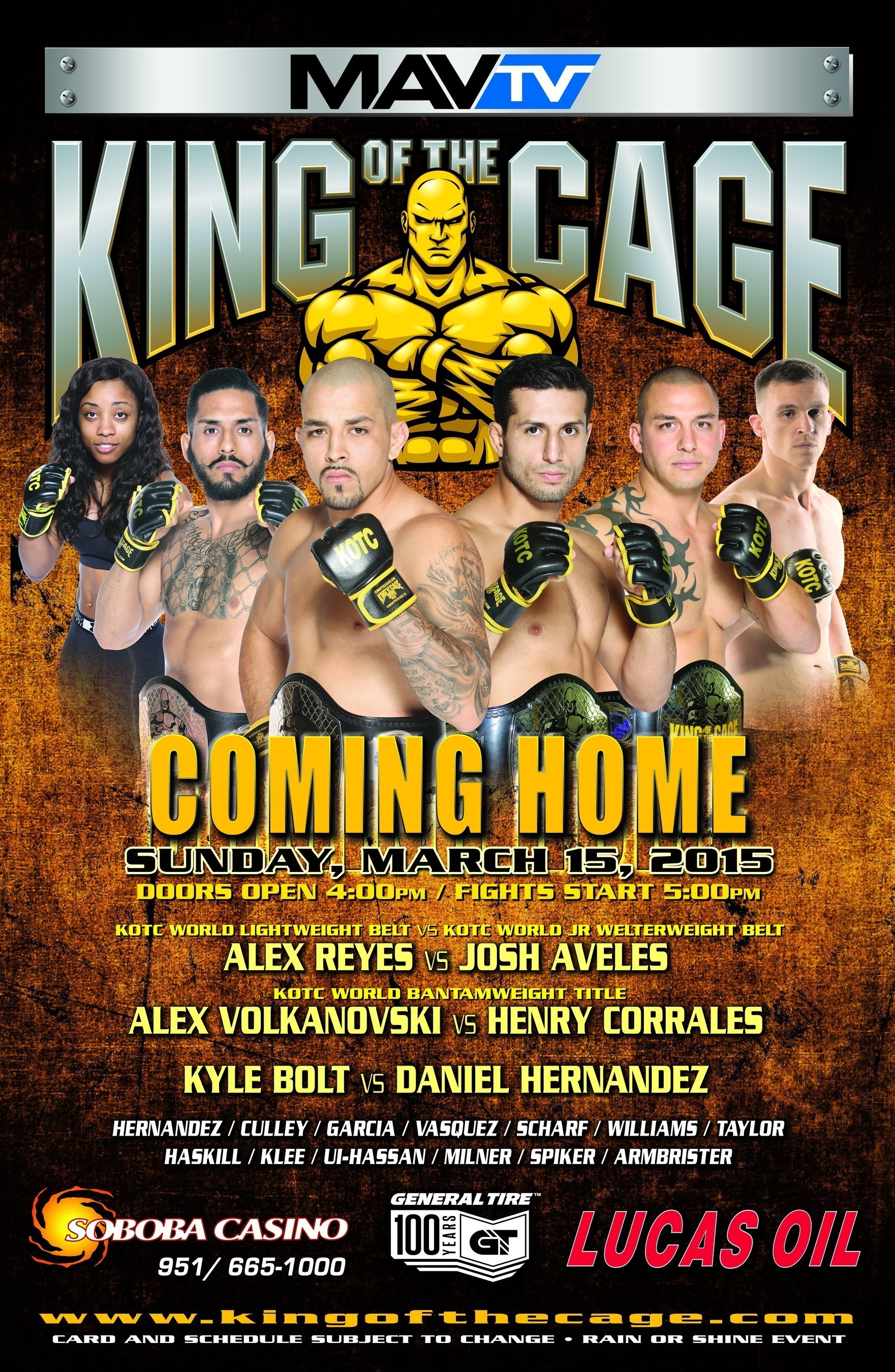 King of the Cage, an internationally broadcast MMA company, is proud to announce on Sunday, March 15, 2015, KOTC will return to Soboba Casino in San Jacinto, California for a broadcast event in the 10,000 seat Soboba Arena.