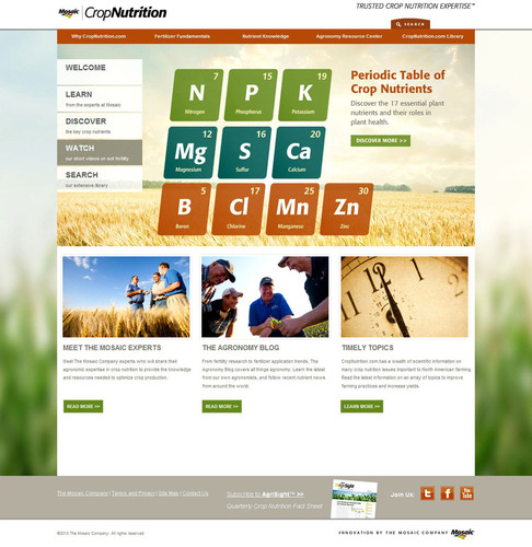 The CropNutrition site is a one-stop soil fertility resource for growers and retailers.  (PRNewsFoto/The Mosaic  ...
