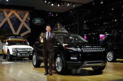 The Range Rover Evoque has been crowned World Design Car of the Year 2012. The announcement was made at the 2012 New York International Auto Show and sees the Range Rover Evoque's awards tally total more than 100 global accolades. Gerry McGovern - Design Director of Land Rover, pictured here, accepted this accolade.  (PRNewsFoto/Land Rover)