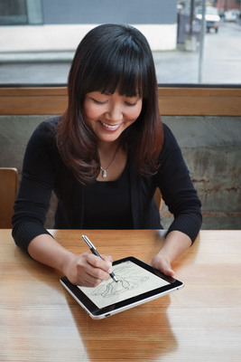 Bamboo Stylus is ideal for note-taking, drawing and sketching on the iPad.  (PRNewsFoto/Wacom, Darren Higgins)