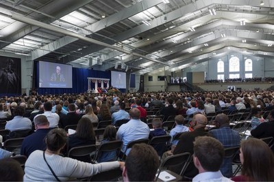 Supreme Court Justice Clarence Thomas spoke at Hillsdale's commencement exercises in May 2016. An audio mix and video from three cameras were sent to master control, and a return feed for the video screens was sent back to the Biermann Center via a FiberPlex WDM-16.