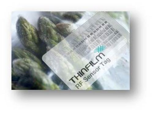 RFID & Asparagus: A Printed Tag includes a Sensor, Memory and Display Capabilities. Courtesy, ThinFilm Corp. Corp.  (PRNewsFoto/FlexTech Alliance)