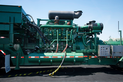 In order to operate using natural gas, FTSI's mobile pressure pumping unit at the site was retrofitted with a Dynamic Gas Blending (DGB) kit from Caterpillar. The system enables substitution of diesel fuel with natural gas during high pressure pumping operations and is compatible with field gas, compressed natural gas (CNG) and liquefied natural gas (LNG).  (PRNewsFoto/Cabot Oil & Gas Corporation)
