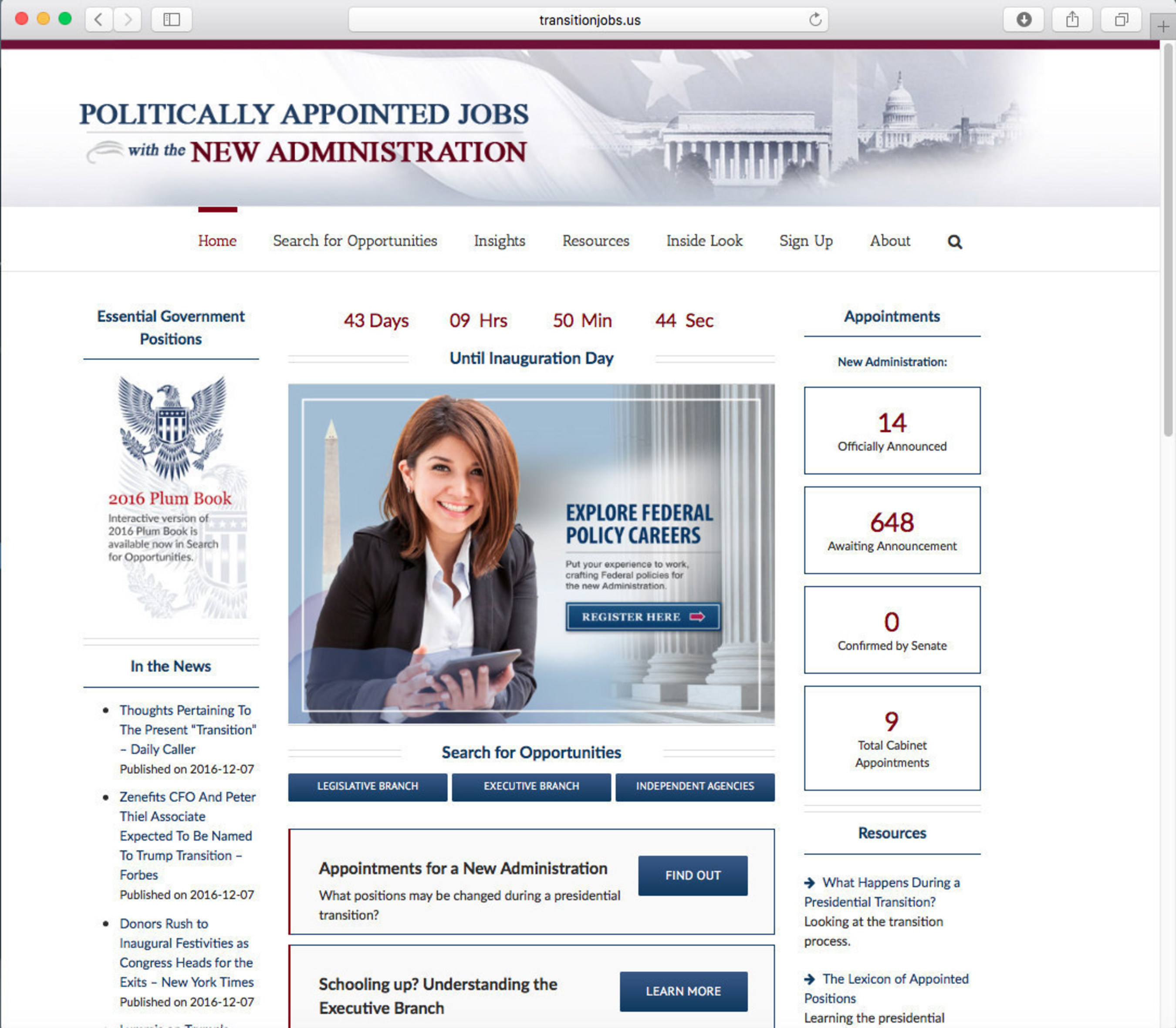 All New Administration Positions Listed on transitionjobs.us