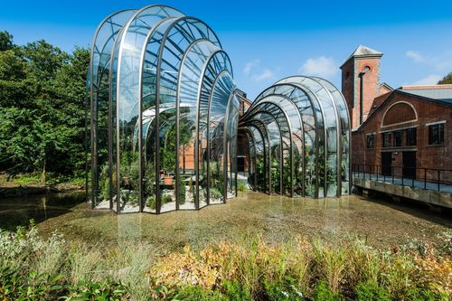 The botanical glasshouses designed by Thomas Heatherwick and Heatherwick Studios taking centre stage at Laverstoke Mill Bombay Sapphire Distillery (PRNewsFoto/BOMBAY SAPPHIRE)