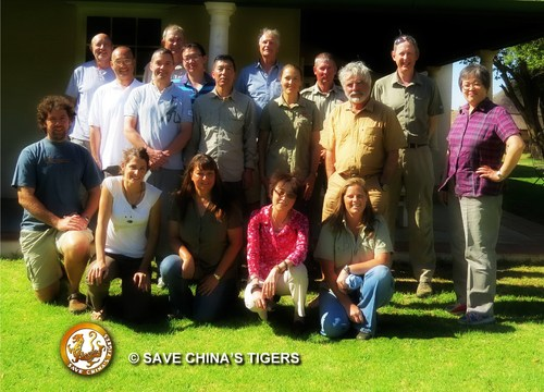 Chinese State Forestry Administration officials, international wildlife scientists, Save China's Tigers representatives and Laohu Valley Reserve staff met in South Africa to celebrate the success of the Chinese Tiger Project's first phase and plan next steps. (PRNewsFoto/The China Tiger Project)