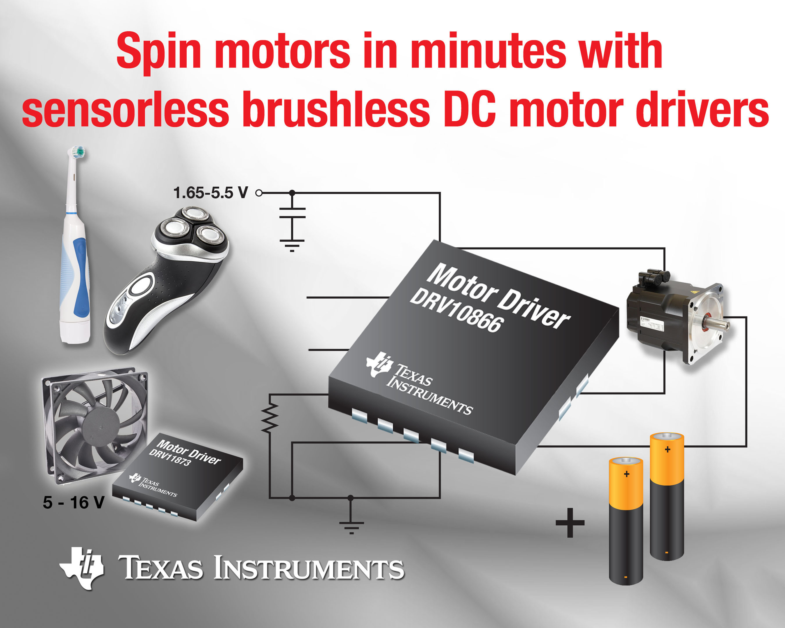 TI spins motors in minutes with sensorless, brushless DC motor drivers.  (PRNewsFoto/Texas Instruments Incorporated)