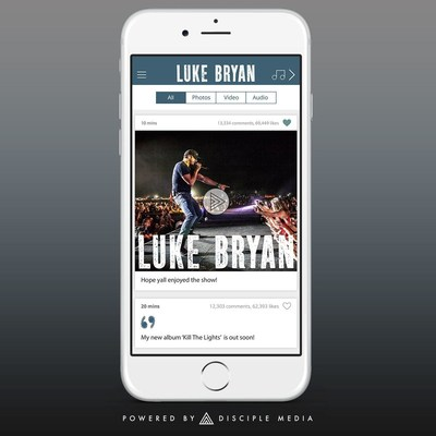 Disciple Media chosen to create and power US country music superstar Luke Bryan's new mobile app, so he can connect better with his fans. Luke's app is launching on 24th July, 2015.