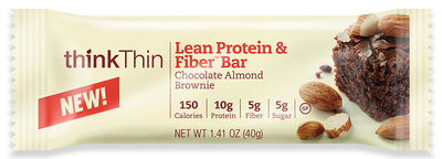 New thinkThin Lean Protein & Fiber is available in 5 decadent flavors including Chocolate Almond Brownie. (PRNewsFoto/thinkThin)