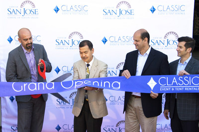Ribbon-cutting at the opening of the new San Jose warehouse. Left to right: Cesar Torres, Councilman Mon Nguyen, Shree Khare, Patrick Domingue.