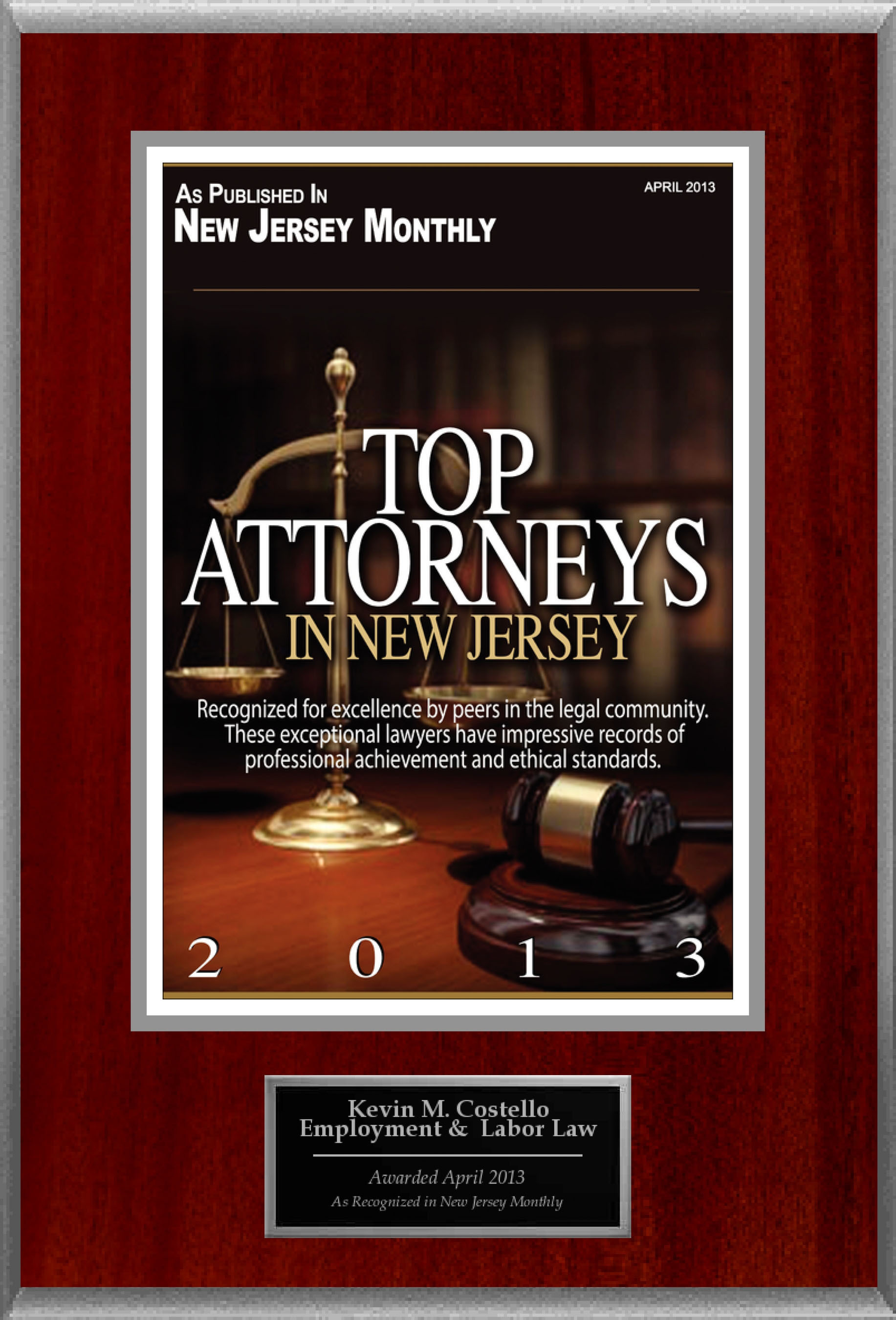 Attorney Kevin M. Costello Selected for List of Top Rated Lawyers in NJ. (PRNewsFoto/American Registry) (PRNewsFoto/AMERICAN REGISTRY)