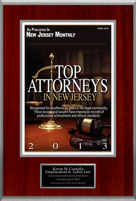Attorney Kevin M. Costello Selected for List of Top Rated Lawyers in NJ.