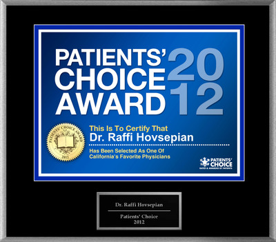 Dr. Hovsepian of Beverly Hills & Newport Beach, CA has been named a Patients' Choice Award Winner for 2012.  (PRNewsFoto/American Registry)