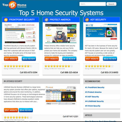Top 5 Home Security Systems.  (PRNewsFoto/Top 5 Home Security Systems)