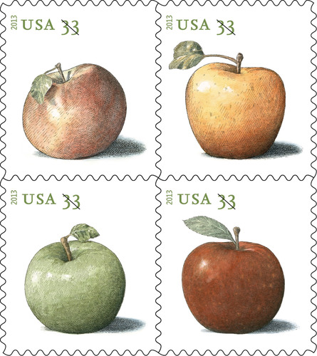 Postcards navigating the nation's mail stream will begin to bear four varieties of fruit now that the Postal Service has harvested the 33-cent Apples Postcard stamps. The stamps feature (clockwise from top left) images of the Northern Spy, Golden Delicious, Baldwin and Granny Smith apples. Available today in panes of 20 or coils of 100, customers may purchase the stamps at usps.com/stamps, by phone: 800-STAMP24 (800-782-6724) and at Post Offices nationwide to prepare for the Jan. 27 1-cent price change.  (PRNewsFoto/U.S. Postal Service)