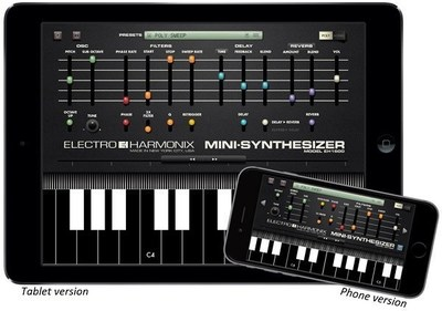 Electro-Harmonix Mini-Synthesizer App shown in iPad and iPhone versions