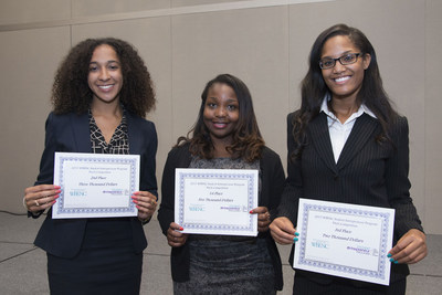 2015 WBENC SEP Pitch Competition Winner Fon Powell (center); second place Jasmine Curtis (left); and third place Naomi Thomas (right).