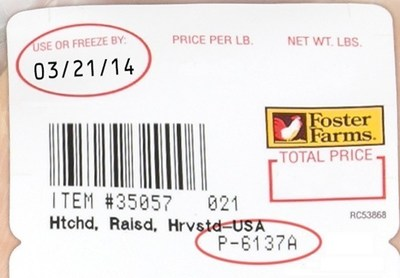 "Fresh retail products involved have a ""Use or Freeze By"" date range of March 16 thru March 29, 2014 (PRNewsFoto/Foster Farms)"