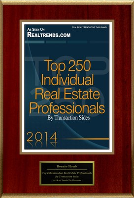 """Ronnie Glomb Selected For """"Top 250 Individual Real Estate Professionals By Transaction Sides"""" (PRNewsFoto/American Registry)"""