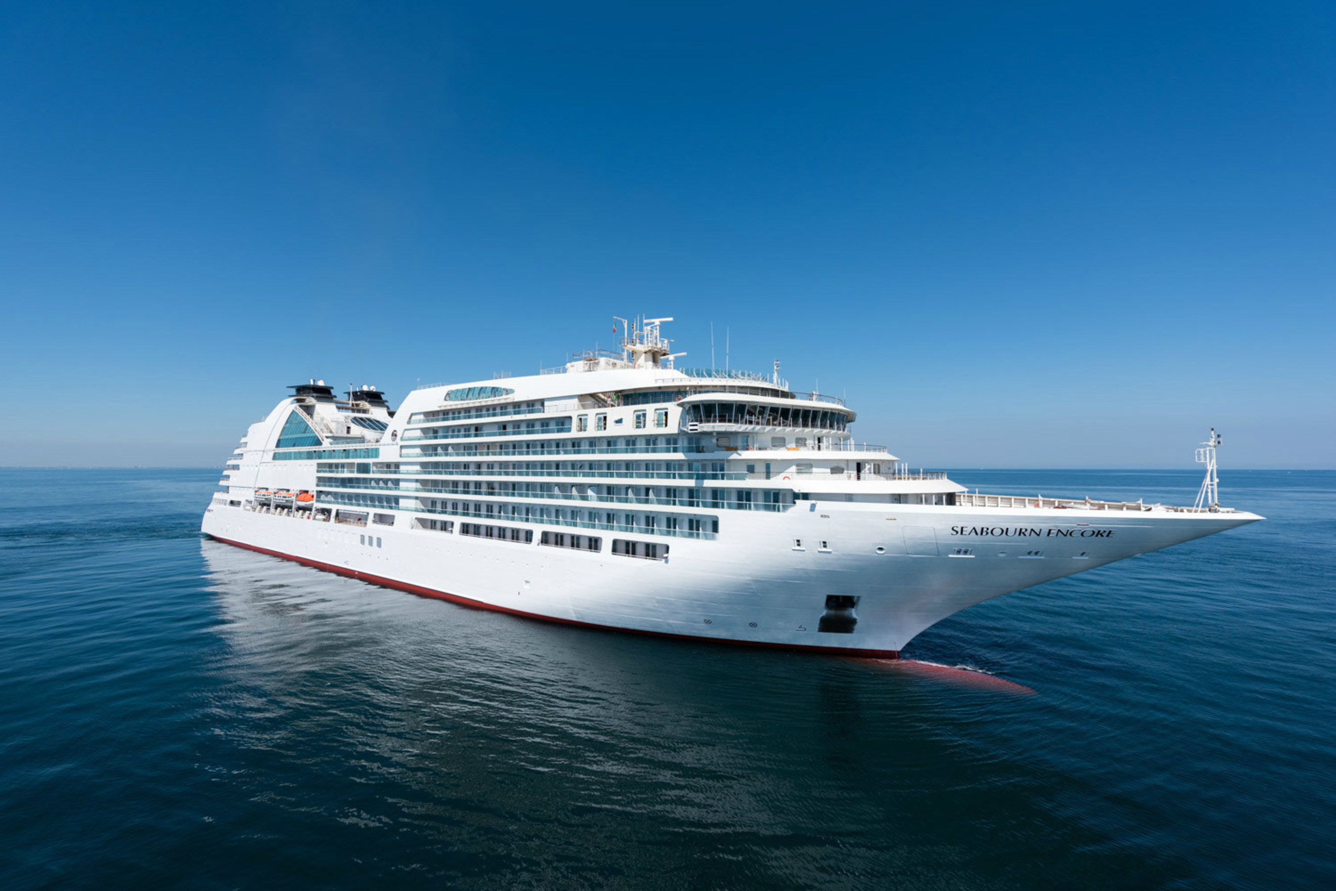 Seabourn Encore, seen here during its last round of sea trials in early November, is now the fourth ship in the ultra-luxury line's fleet after an official handover ceremony today in Marghera, Italy.