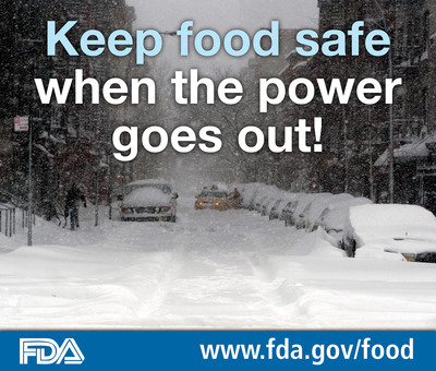 Keep food safe when the power goes out! Learn how at www.fda.gov/food. (PRNewsFoto/U.S. Food and Drug Administration) (PRNewsFoto/US FOOD AND DRUG ADMINISTRATION)