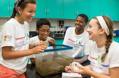 Maryland's gifted and talented students researching on environmental issues and ways to solve them during Honeywell Institute for Ecosystems Education at the Horn Point laboratory, Maryland.