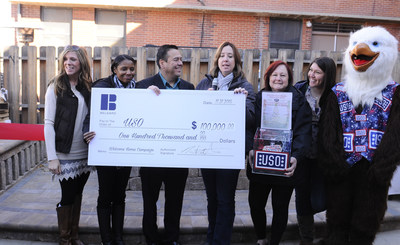 Belgard presents $100,000 to the USO at a celebration event at Fort Carson in Colorado Springs, Colo.