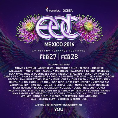 3rd Annual Electric Daisy Carnival, Mexico Reveals Full Artist Lineup