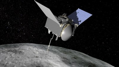 Artist's conception of NASA's Origins, Spectral Interpretation, Resource Identification, Security - Regolith Explorer (OSIRIS-REx) spacecraft at the asteroid Bennu.