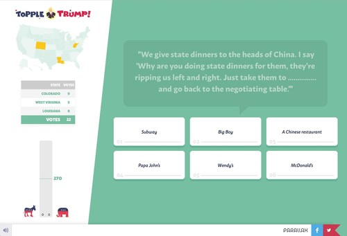 """Digital Agency Parallax Raises US Presidential Campaign Awareness With """"Topple Trump"""" Game Launch (PRNewsFoto/Parallax)"""