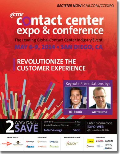 Contact Center managers and key personnel have been eager to receive the newly released Contact Center Expo & Conference Brochure. Attendees can create their own unique experience specific to their needs with a plethora of learning opportunities and activities: half day workshops, full day training, site tours, 75 minute conference sessions, inspiring keynote presentations and an expo hall full of industry solutions.  (PRNewsFoto/International Customer Management Institute (ICMI))