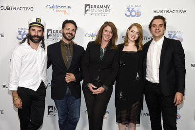 "Caroline Beteta, center, president and CEO of Visit California, poses with, left to right, choreographer Ryan Heffington, director Brantley Gutierrez, actress Emma Stone and musician Will Butler at The GRAMMY Museum on Wednesday, Oct. 14, 2015, in Los Angeles. Beteta led a panel discussion after Visit California premiered their latest California Dreamers video ""Dream of Dance,"" which explores Heffington's creative world and Golden State inspiration. (Photo by Chris Pizzello/Invision for Visit California/AP)"
