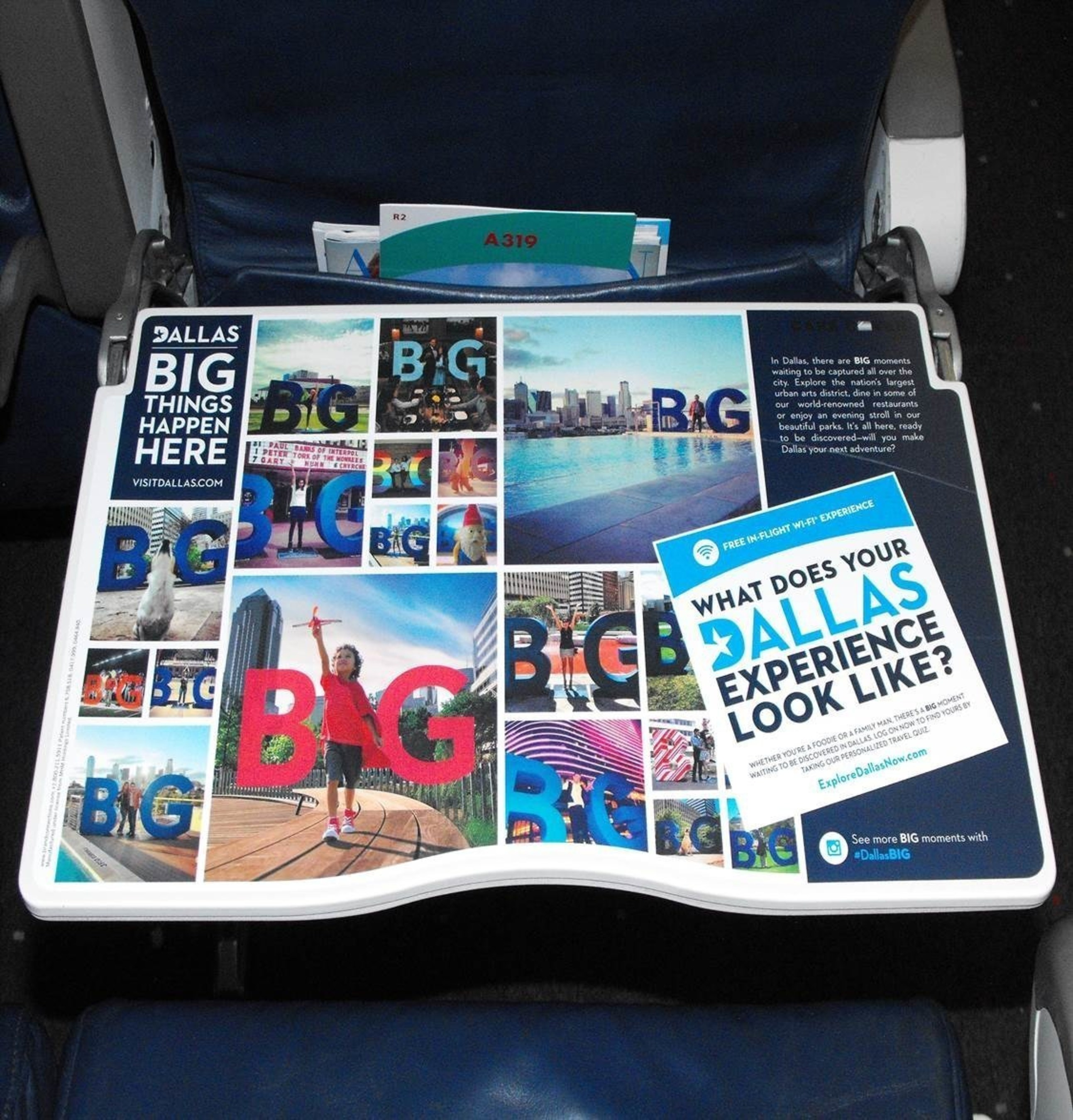 "Dallas branded airline tray tables promote the city's ""Big Things Happen Here"" campaign, driving passengers to explore Dallas mid-air via a whimsical and interactive online game."